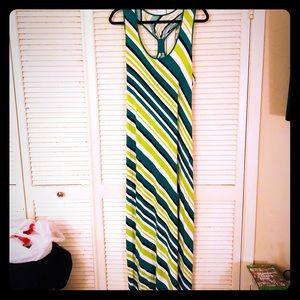 {Calvin Klein} Multi-green stripe racerback maxi